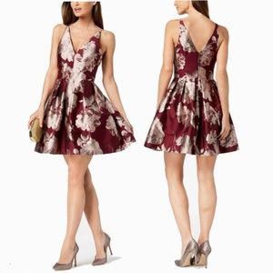 XSCAPE Women's Floral Printed Fit & Flare Dress